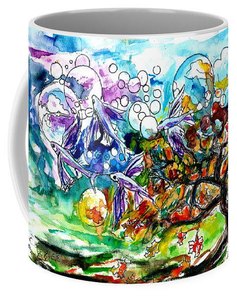 Flying Fish Coffee Mug featuring the painting Flying Fish Tree And Bubbles by Genevieve Esson