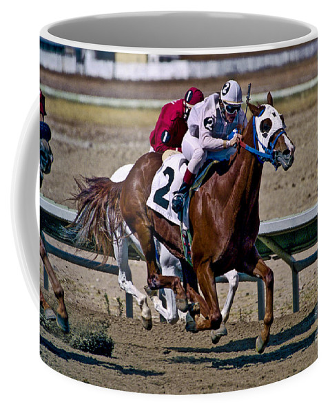 Racing Coffee Mug featuring the photograph Flying Hooves by Kathy McClure