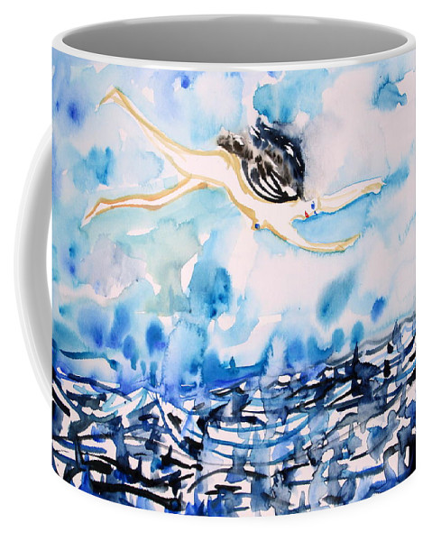 Woman Coffee Mug featuring the painting Flying Over Troubled Waters by Fabrizio Cassetta