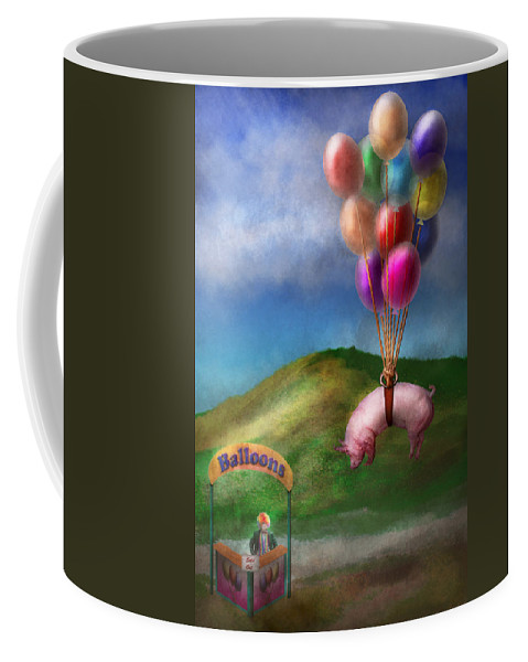 Pig Coffee Mug featuring the photograph Flying Pig - Child - How I Wish I Were A Bird by Mike Savad
