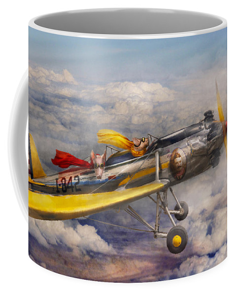 Pig Coffee Mug featuring the photograph Flying Pig - Plane - The Joy Ride by Mike Savad