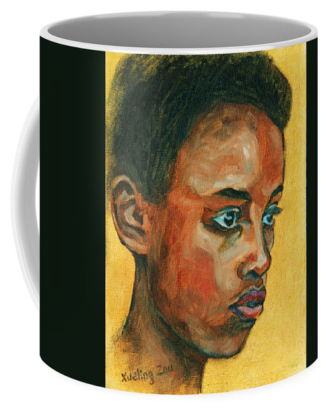 African American Coffee Mug featuring the painting Focus by Xueling Zou