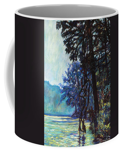 Kendall Kessler Coffee Mug featuring the painting Fog On The New River by Kendall Kessler