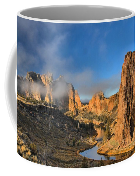 Smith Rock Coffee Mug featuring the photograph Fog Over Smith Rock by Adam Jewell