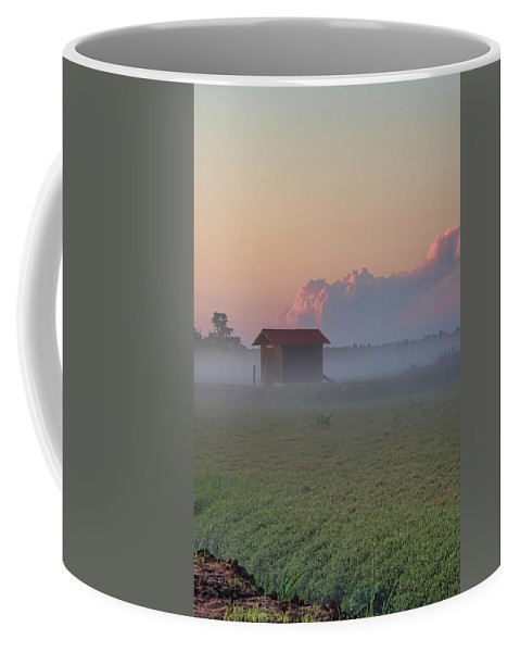Whitesbog Coffee Mug featuring the photograph Fog Rolling Over The Bogs At Sunset by Beth Sawickie