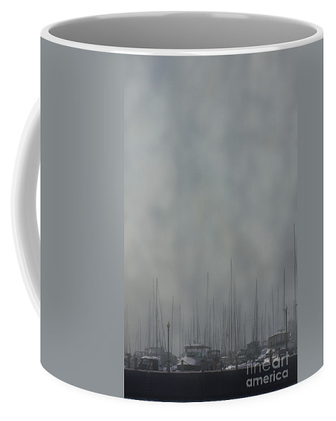Boat; Docked; Pier; Dingy; Fog; Peaceful; Water; Sea; Ocean; Lake; River; Yacht; Harbor; Sail; Still; Hazy; Sailing; Marina; Mooring; Sport; Vessel Coffee Mug featuring the photograph Fogged In by Margie Hurwich
