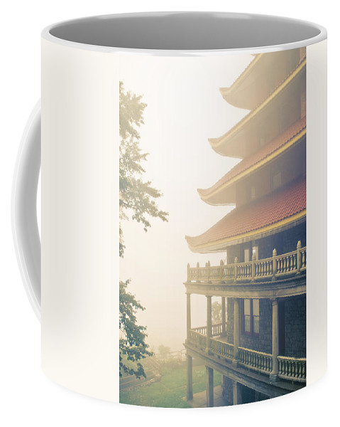 Restaurant Coffee Mug featuring the photograph Foggy At The Reading Pagoda by Trish Tritz