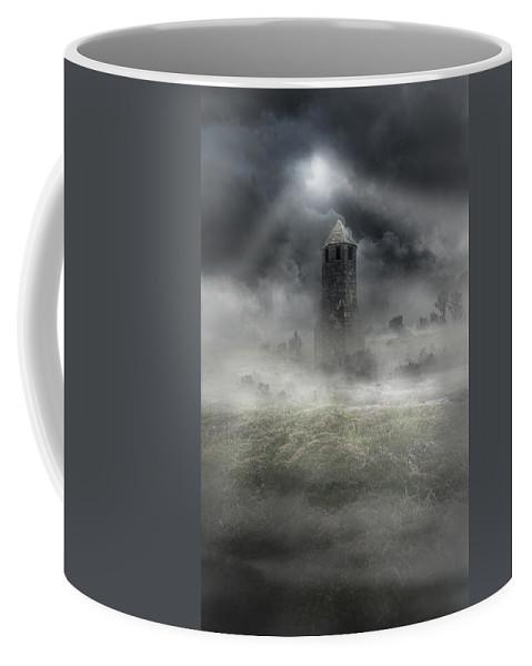 Landscape Coffee Mug featuring the photograph Foggy Landscape With Dark Tower by Jaroslaw Blaminsky