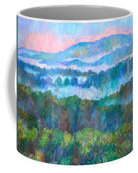 Landscape Coffee Mug featuring the painting Foggy View From Mill Mountain by Kendall Kessler
