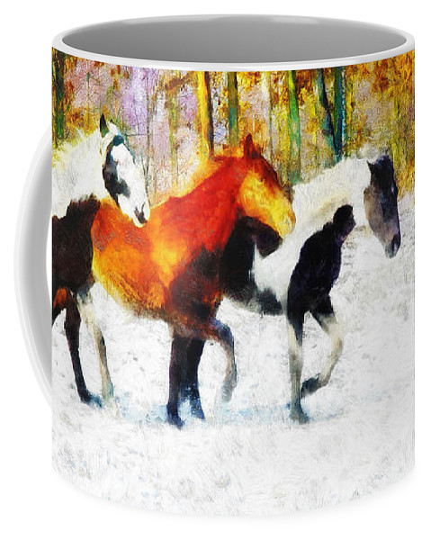 Horses Coffee Mug featuring the painting Follow The Leader by Greg Collins