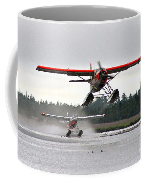 Plane Coffee Mug featuring the photograph Follow The Leader by Rick Monyahan