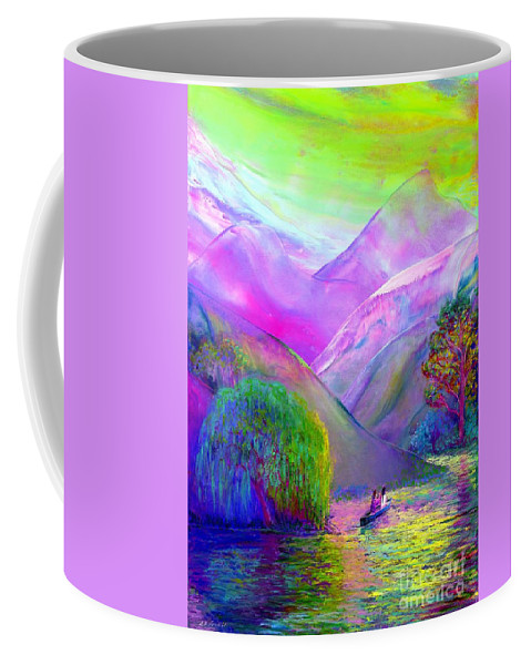 Love Coffee Mug featuring the painting Love Is Following The Flow Together by Jane Small