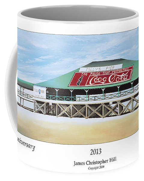 Sunrise Coffee Mug featuring the painting Folly Beach Original Pier by James Christopher Hill