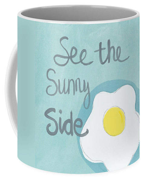 Egg Coffee Mug featuring the painting Food- Kitchen Art- Eggs- Sunny Side Up by Linda Woods