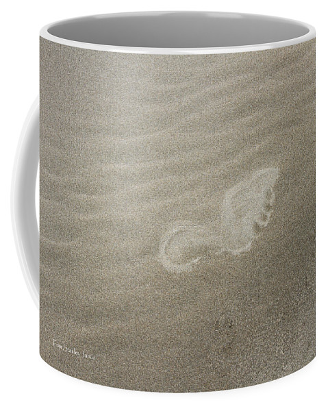 Foot Print In The Sand Coffee Mug featuring the photograph Foot Print In The Sand by Tom Janca