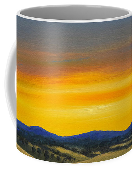 Sunrise Coffee Mug featuring the painting Foothills Sunrise by Frank Wilson