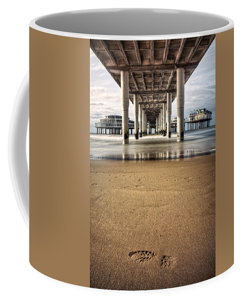 Piers Coffee Mug featuring the photograph Footprints In The Sand by Dave Bowman