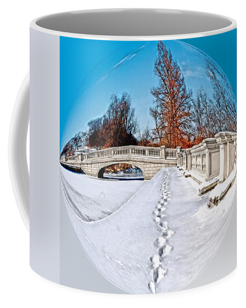 Sphere Coffee Mug featuring the photograph Footprints In The Snow - Sphere by Larry Jost