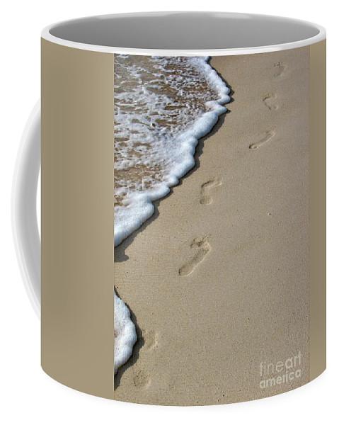 Beach Coffee Mug featuring the photograph Footprints by Peggy Hughes