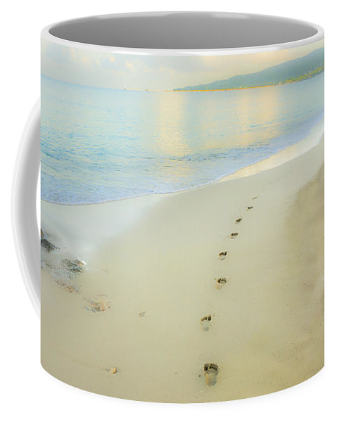 Beach Coffee Mug featuring the photograph Footprints To Nowhere by Betty LaRue