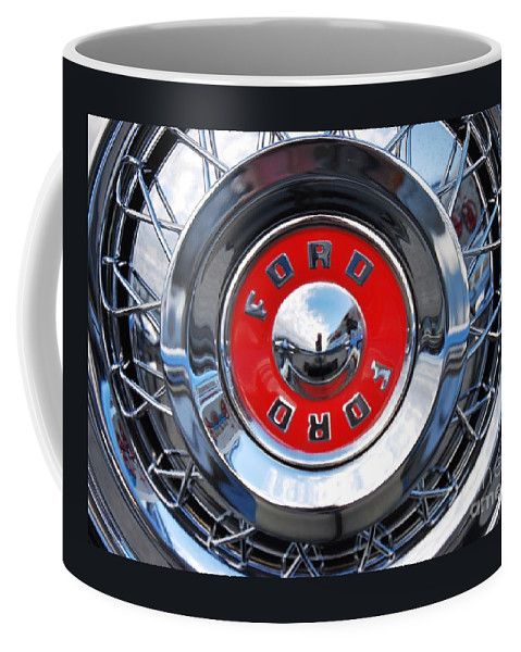 Hub Cap Art Ford Fairlane Victoria Collectible Iconic Design History Stock Shot Wheel Product Surreal Travel Vintage Car Reflections Red Circles Industrial Collectors Piece Metal Frame Highly Recommended Canvas Print Poster Print Available On Greeting Cards Throw Pillows Phone Cases T Shirts Tote Bags Shower Curtains Pouches Weekender Tote Bags And Mugs Coffee Mug featuring the photograph Ford Fairlane Hub Cap by Marcus Dagan