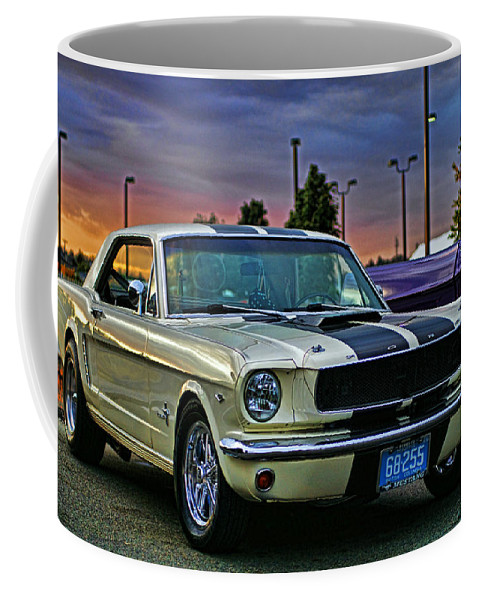 Cars Coffee Mug featuring the photograph Ford Mustang At Sunset by Randy Harris