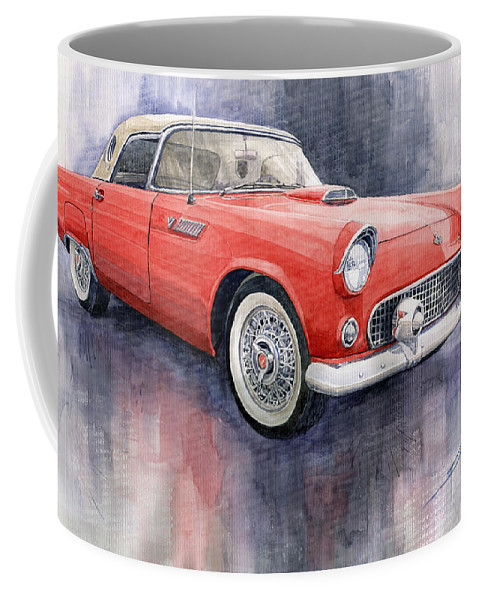 Watercolor Coffee Mug featuring the painting Ford Thunderbird 1955 Red by Yuriy Shevchuk