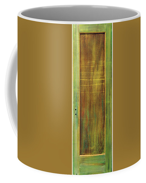 Painted Door; Photograph Of Painted Door; Texture Painting; Found Object Painting; Mixed Media With Gold Paint On Old Wooden Door; Forest; Recycled Art; Symbolic Art; Spiritual Paintings; Spiritual Entrances Coffee Mug featuring the sculpture Forest Painted Door by Asha Carolyn Young