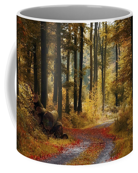 Forest Road Coffee Mug featuring the photograph Forest Road by Ingrid Smith-Johnsen