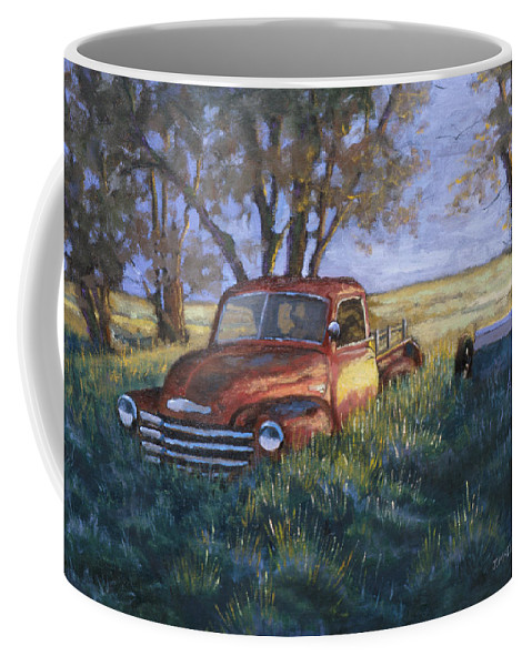 Pickup Truck Coffee Mug featuring the painting Forgotten But Still Good by Jerry McElroy