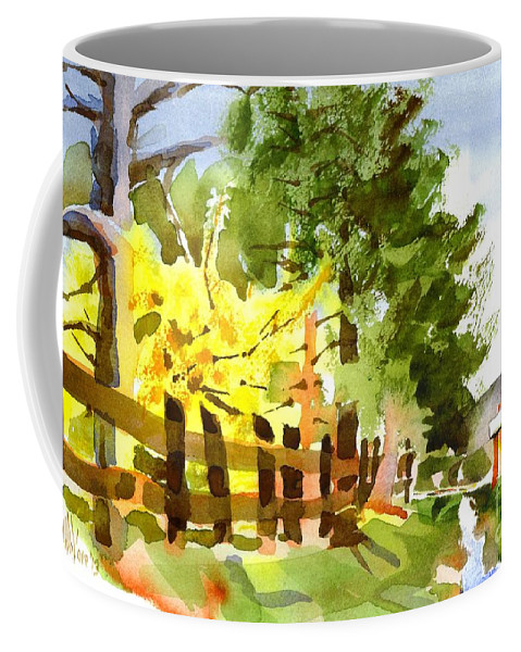 Forsythia In Bloom Coffee Mug featuring the painting Forsythia In Bloom by Kip DeVore