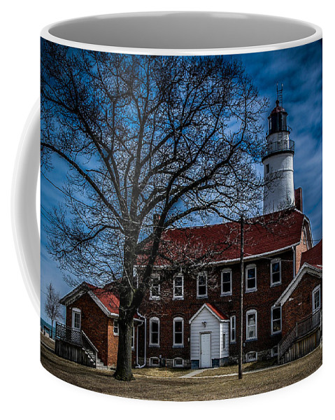 Lighthouse Coffee Mug featuring the photograph Fort Gratiot Lighthouse And Buildings With Clouds by Ronald Grogan