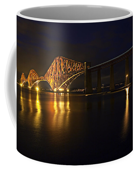 Transportation Coffee Mug featuring the photograph Forth Rail Bridge With Train by Marcia Colelli