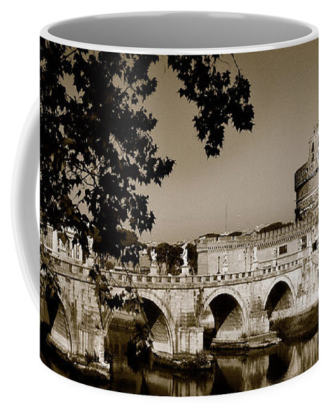 Fortress Coffee Mug featuring the photograph Fortress And Bridge In Sepia by Weston Westmoreland