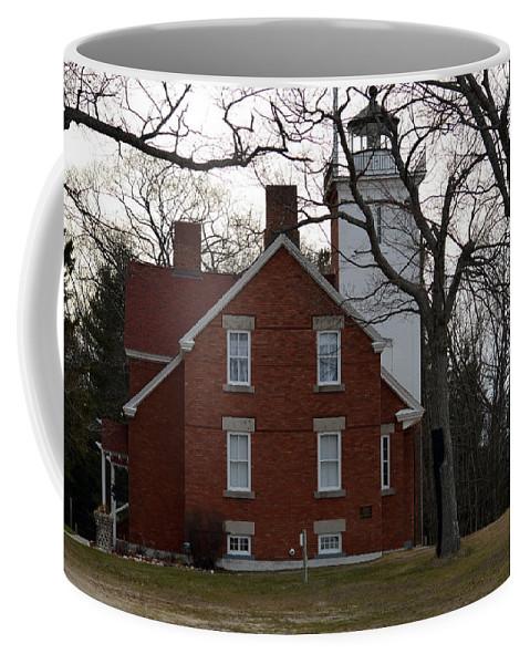 Forty Mile Point Lighthouse Coffee Mug featuring the photograph Forty Mile Point Lighthouse by Linda Kerkau
