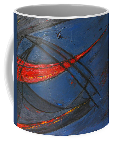 Red Coffee Mug featuring the painting Forward by Patricia Awapara
