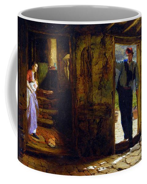 George Elgar Hicks Coffee Mug featuring the digital art Forward She Started With A Happy Cry by George Elgar Hicks