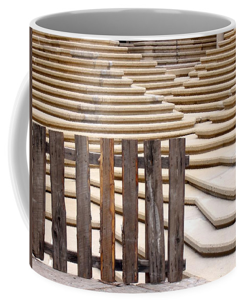 Fence Coffee Mug featuring the photograph Fountain Stepped Concrete And Fence by Ian Mcadie