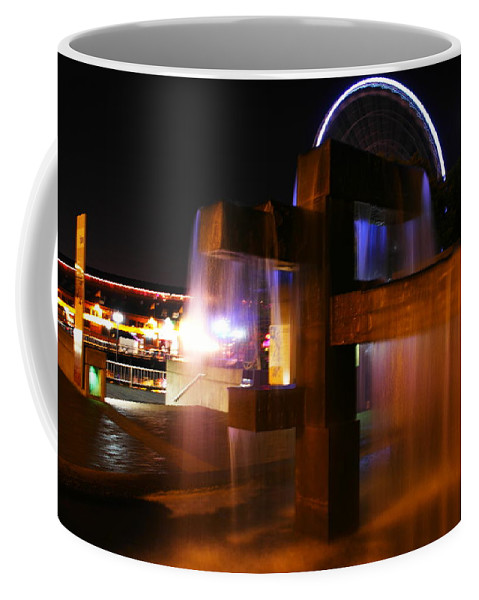Water Coffee Mug featuring the photograph Fountain Foreground The Seattle Ferris Wheel by Jeff Swan