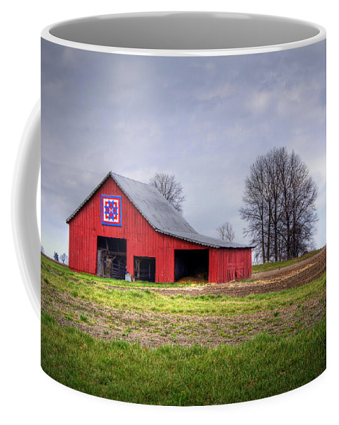 Barn Coffee Mug featuring the photograph Four Corners Quilt Barn by Cricket Hackmann