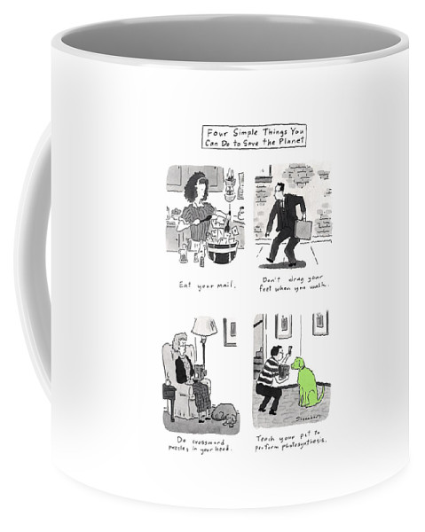 Four Simple Things You Can Do To Save The Planet: Title. Four Panel Spread Parodying The Book Coffee Mug featuring the drawing Four Simple Things You Can Do To Save The Planet by Danny Shanahan