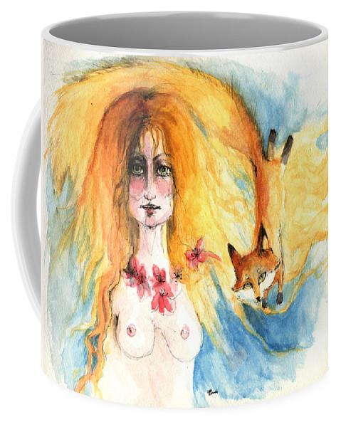 Nude Coffee Mug featuring the painting Fox Girl by Angel Ciesniarska