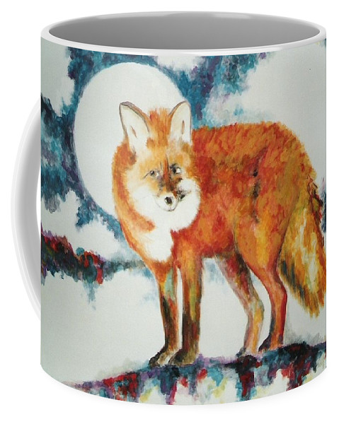 Fox Coffee Mug featuring the painting Fox In The Moon by Lord Frederick Lyle Morris