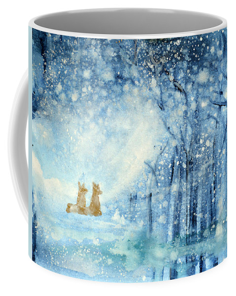Fox Coffee Mug featuring the painting Foxes In The Snow by Ashleigh Dyan Bayer