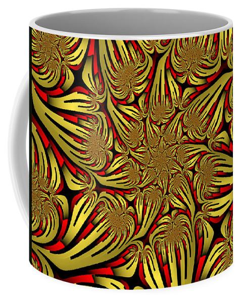 Digital Art Coffee Mug featuring the digital art Fractal Golden And Red by Gabiw Art