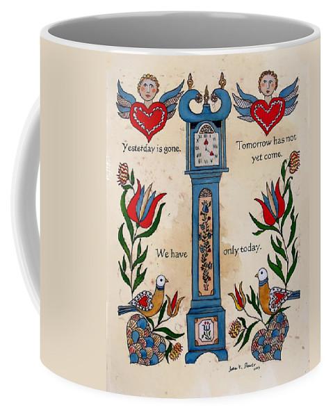 Fraktur Scriften Coffee Mug featuring the painting Fraktur Scriften-time by Joan Shaver