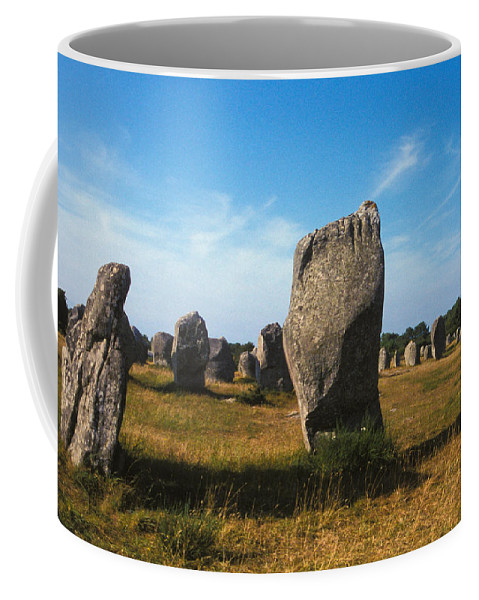 Stone; Built Structure; Field; Travel; Ancient; Landmark; No People; Horizontal; Outdoors; Day; France; Brittany; Carnac; Megaliths Coffee Mug featuring the photograph France Brittany Carnac Ancient Megaliths by Anonymous