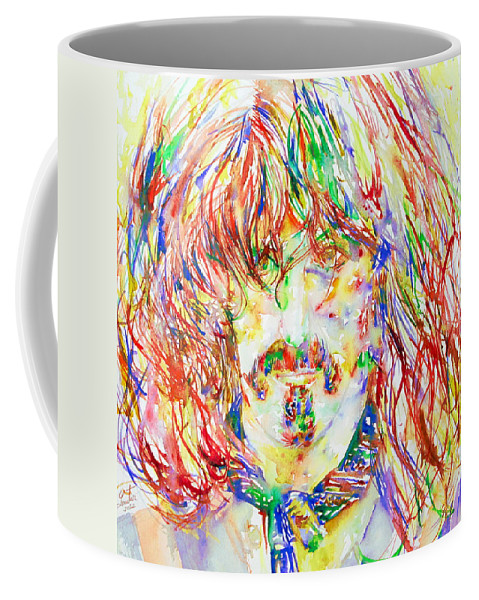 Frank Coffee Mug featuring the painting Frank Zappa Watercolor Portrait.1 by Fabrizio Cassetta