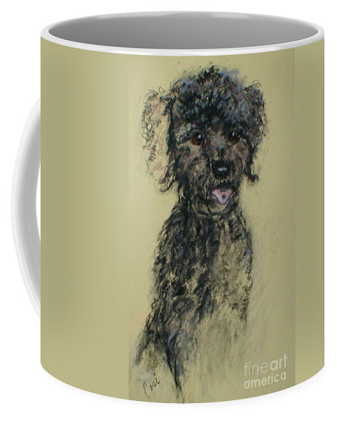 Toy Poodle Coffee Mug featuring the drawing Fred by Cori Solomon