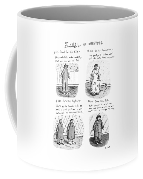 Frederick's Of Winnipeg: Title. 4-panel Drawing Shows Such Items As Flannel Pajamas Coffee Mug featuring the drawing Frederick's Of Winnipeg by Roz Chast